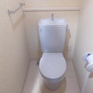トイレも個室。ウォシュレットはないです。※写真は別部屋になります。