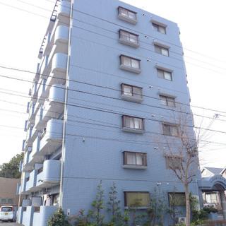 ブルーのマンション。築年数はそこそこです。
