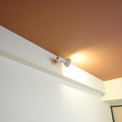 天井が茶色で照明もいい