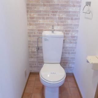 トイレの壁と床が可愛らしい。