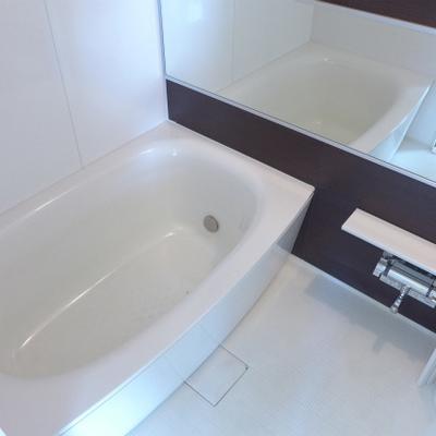 ホテルライクの鏡、広い浴槽!※写真は別部屋