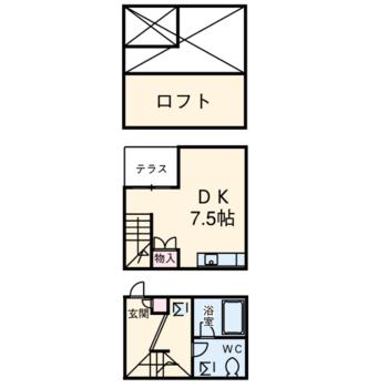 1階に玄関水まわり、2階に居室とロフト!
