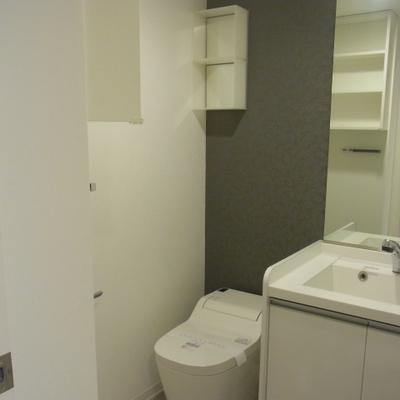 清潔感のあるトイレと洗面台。
