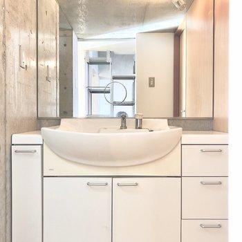 大きめの洗面台なので朝の準備もしやすそうです※写真はクリーニング前のものです