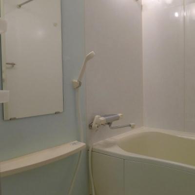 浴室の一面だけ水色です。※写真は別室