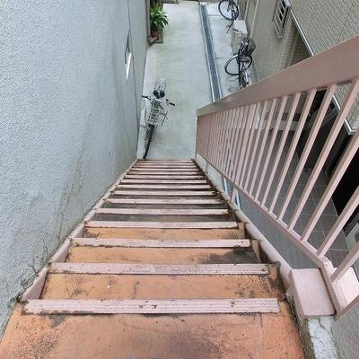階段は急なので足元注意