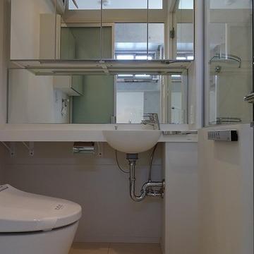 洗面台には鏡と収納スペースが!