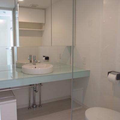 大きな洗面台。※写真は別部屋です