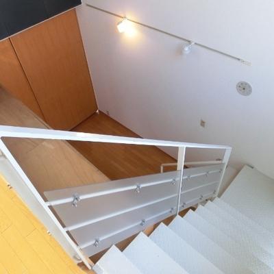 こちらの階段でとんとんとん、と。