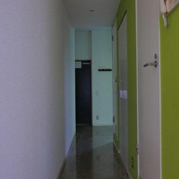 廊下手前のドアを開くと、