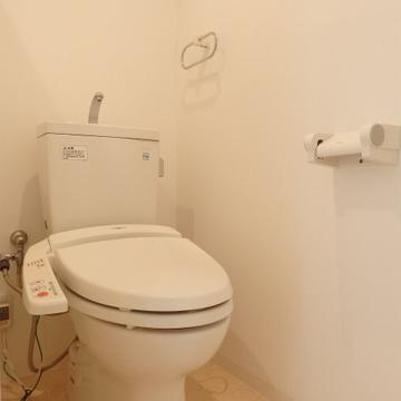 ウォシュレット付きのトイレ。新品ではないですが、キレイでした。