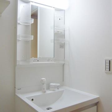 独立洗面台はヘッドシャワー付き。