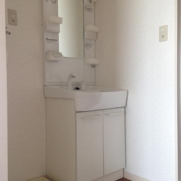 洗面台、その隣に洗濯機パン。