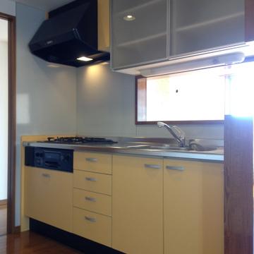 食器棚の付いたシステムキッチン。