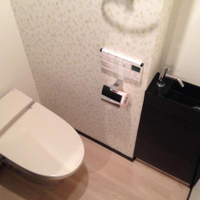 最新式のトイレ。入ってくるとウィーンと便座が開きます。