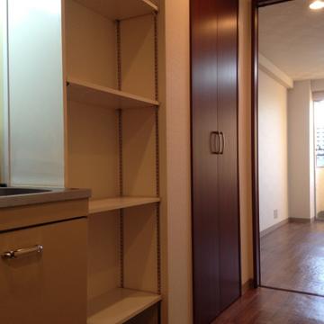 棚とクローゼット。上手くしまいこんで部屋を広く使いたいですね。