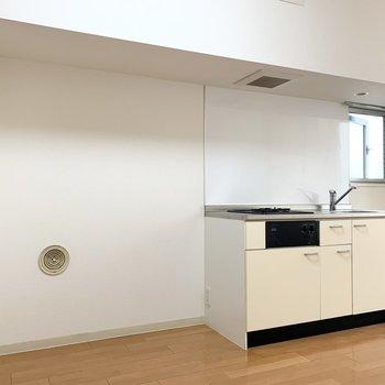 キッチン隣は、冷蔵庫以外にも収納が置けそうです。