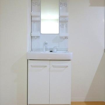 収納付の洗面台は清潔そう~!