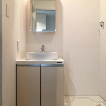 洗面台と室内洗濯機置場。