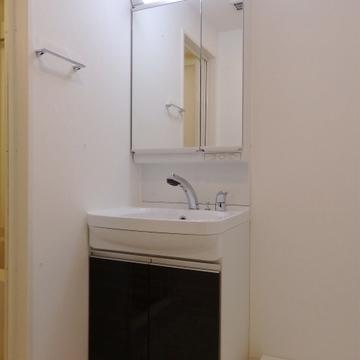 建具と同じ色の収納がついた洗面台。