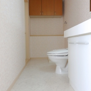手前から洗面台、トイレ、洗濯機置き場と並んでいます。