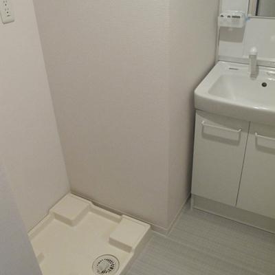 独立洗面台と、その左隣の洗濯機置き場