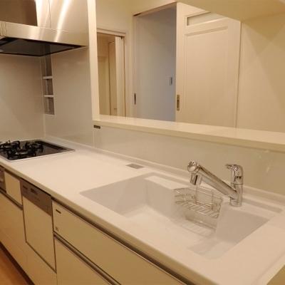 巨大なアイランドキッチンは食洗機も付いてます。