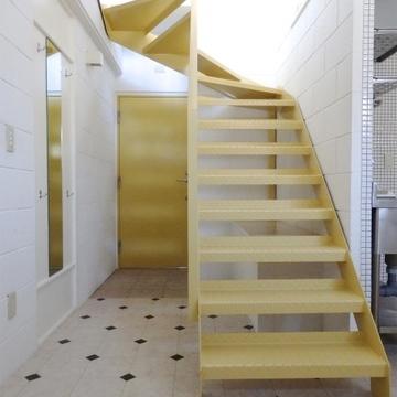 階段の後ろ側が玄関です。