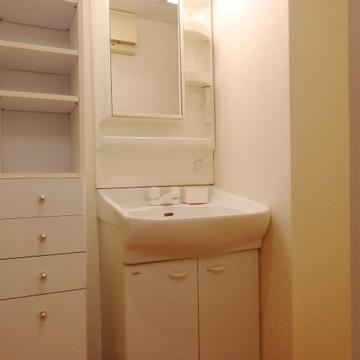 独立洗面台。その隣に