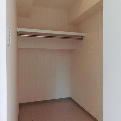 ウォークインクローゼット。奥行きは1.5mくらい。※写真は別部屋です