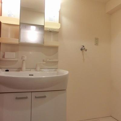 使いやすそうな洗面台の隣には洗濯置き場もあります