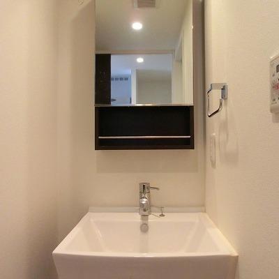 すっきりした洗面台の後ろに洗濯置き場があります※画像は別部屋