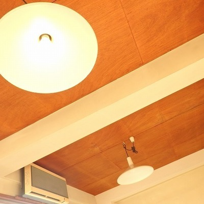 天井と照明はレトロで温かみがあるデザイン!