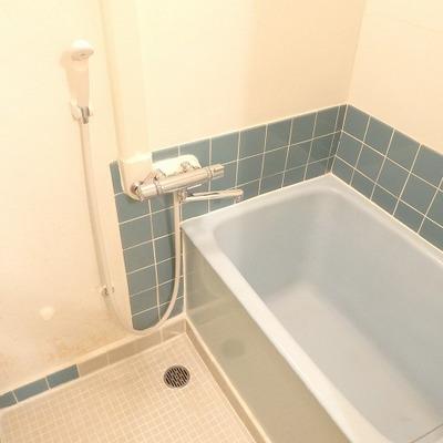 このレトロな感じ・・・タイルも浴槽もブルーで統一。