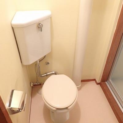 トイレもレトロ。右にはお風呂、向かいは洗面台。