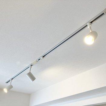 ライティングレールにはお好きに照明を取り付けることができますよ。