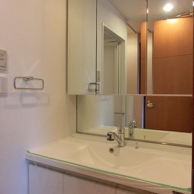 大きい鏡が嬉しい洗面台※画像は10202号室