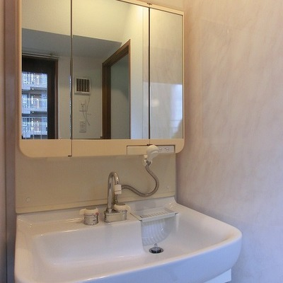 シャワーノズルのある洗面台