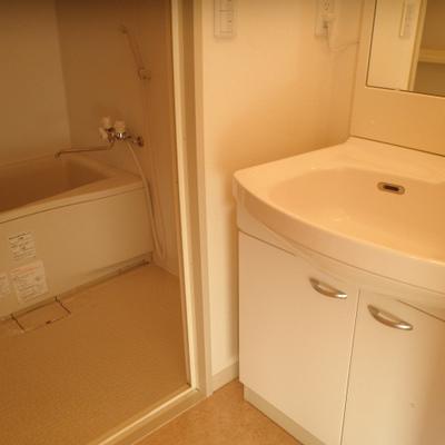 洗面脱衣スペースは、ちょっと狭め
