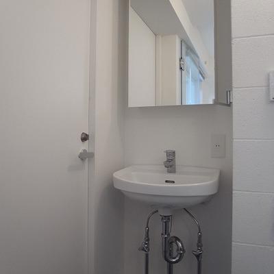 スケルトンデザインの洗面台。cool!※写真は別部屋です