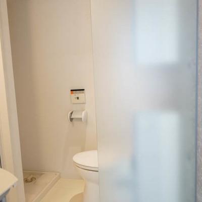パウダールームは十分広さがあります。トイレには目隠しも。