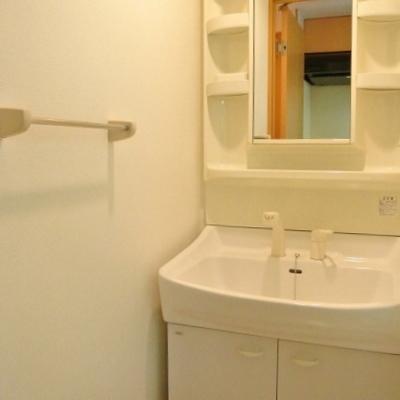 洗面台。脱衣所はすこし狭いんですね