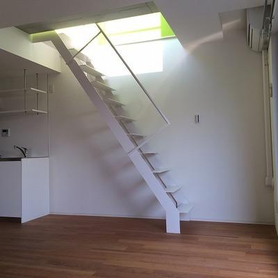 屋上へ繋がる階段。チョット急です。