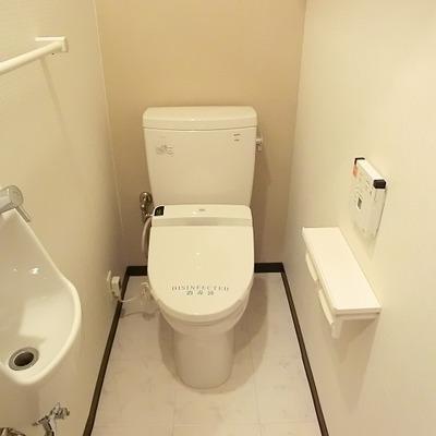 洗面付きのトイレ。