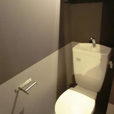 かっこいいトイレ。ツートーンが効いています。