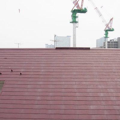 眺望は・・・。前方で工事中。