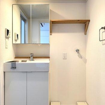 洗面台と洗濯パンは隣に。