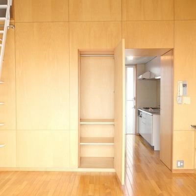 室内収納はこちら。キッチン横にも同じようなのがあります。