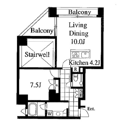 高輪10階、贅沢な生活 の間取り