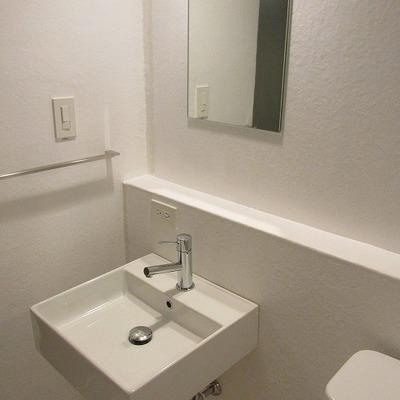 洗面台はバスルームにありますがスペース広め※写真は別部屋です